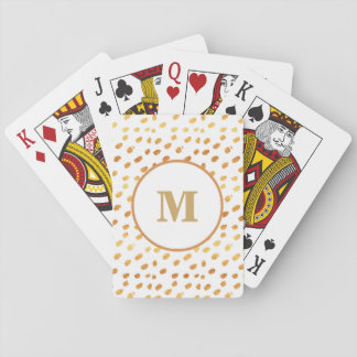 Monogram White and Gold Confetti Playing Card