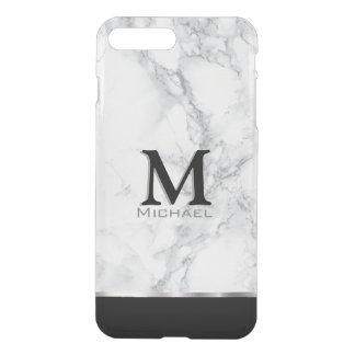 Monogram White and Gray Marble Design iPhone 7 Plus Case