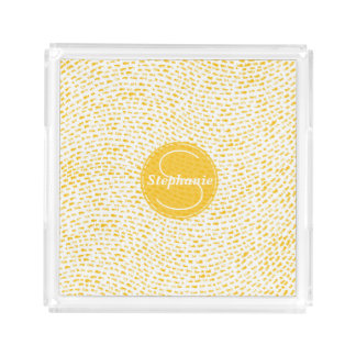Monogram White and Yellow Dashes Acrylic Tray