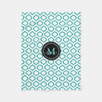 Monogram | White Aqua Trellis Pattern Fleece Blanket