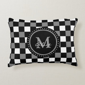 Monogram | White Black Checkerboard Pattern Accent Pillow