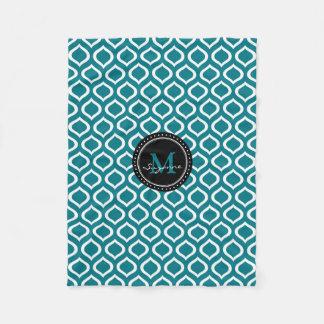 Monogram | White Blue Trellis Pattern Fleece Blanket