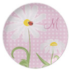Monogram White Daisies and Lady Bug Polka Dot Pink Plate
