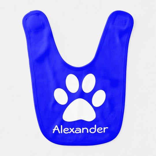 Monogram White Dog Cat Paw Print on Blue Bib