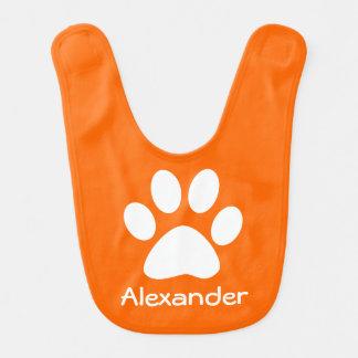 Monogram White Dog Cat Paw Print on Orange Baby Bibs