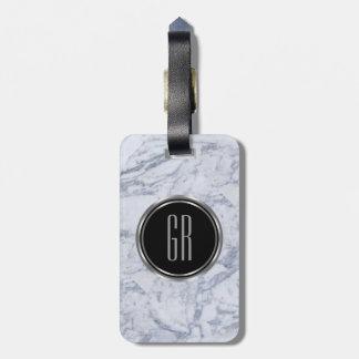 Monogram White Faux Marble Stone Pattern Bag Tag