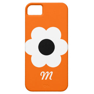 Monogram White Flower - orange iPhone 5 Case
