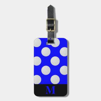 Monogram White Golf Balls, Blue Luggage Tag