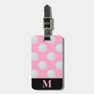 Monogram White Golf Balls, Carnation Pink Luggage Tag