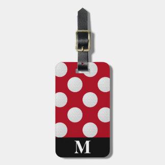Monogram White Golf Balls, Dark Red Luggage Tag