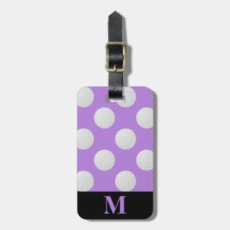 Monogram White Golf Balls, Lavender Luggage Tag