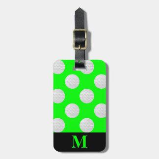 Monogram White Golf Balls, Lime Green Luggage Tag