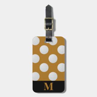 Monogram White Golf Balls, Matte Antique Gold Luggage Tag
