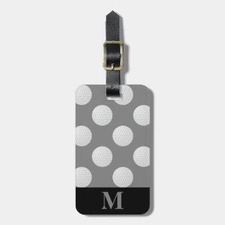 Monogram White Golf Balls, Medium Gray Luggage Tag