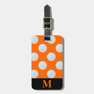 Monogram White Golf Balls, Orange Luggage Tag