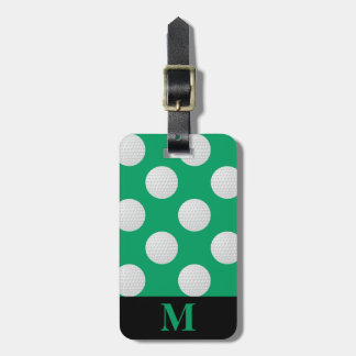 Monogram White Golf Balls, Shamrock Green Luggage Tag