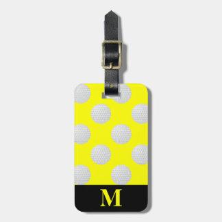 Monogram White Golf Balls, Yellow Luggage Tag