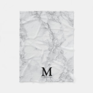 Monogram White Gray Marble Fleece Blanket