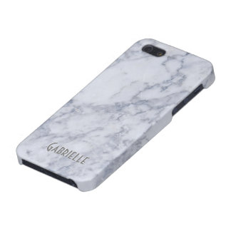 Monogram White Marble Stone Pattern iPhone 5/5S Case