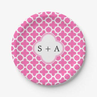 Monogram White on Hot Pink Quatrefoil Pattern Paper Plate