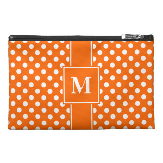 Monogram White on Orange Polka Dots Travel Accessory Bag