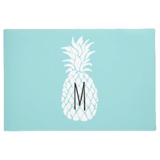 monogram white pineapple doormat