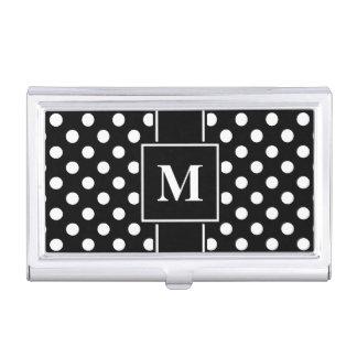 Monogram White Polka Dot on Black Business Card Holder