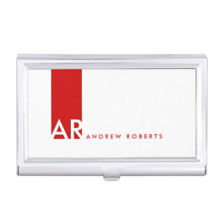 Monogram White Red Clean Business Card Holder