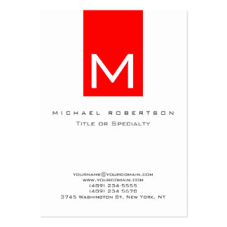 Monogram White Red Stripe Chubby Business Card