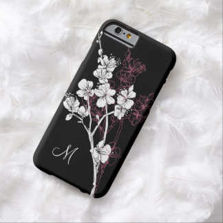 Monogram White Spring Blossoms on Acai Pink Barely There iPhone 6 Case