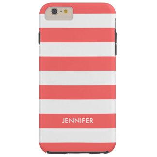Monogram White Stripes Coral-Red Background Tough iPhone 6 Plus Case