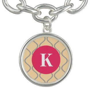 Monogram (white) / Stylish Wavy Pattern / Hot Pink Bracelet