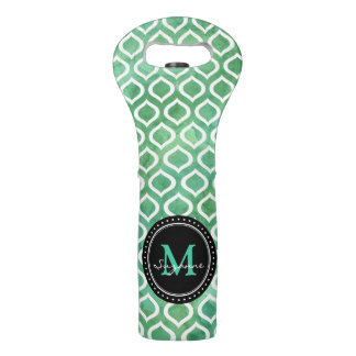 Monogram | White Watercolor Aqua Trellis Pattern Wine Bag