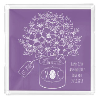 Monogram Wildflowers Bouquet Hand-Drawn Mason Jar Acrylic Tray