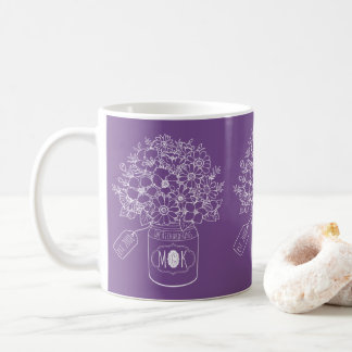 Monogram Wildflowers Bouquet Hand-Drawn Mason Jar Coffee Mug