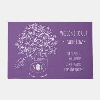 Monogram Wildflowers Bouquet Hand-Drawn Mason Jar Doormat