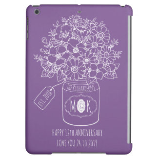 Monogram Wildflowers Bouquet Hand-Drawn Mason Jar iPad Air Cases