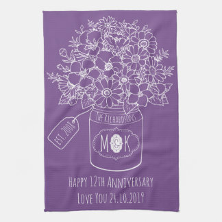 Monogram Wildflowers Bouquet Hand-Drawn Mason Jar Kitchen Towel