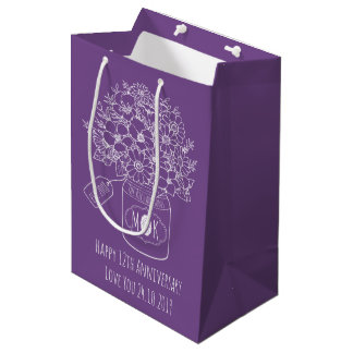 Monogram Wildflowers Bouquet Hand-Drawn Mason Jar Medium Gift Bag
