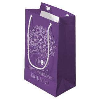 Monogram Wildflowers Bouquet Hand-Drawn Mason Jar Small Gift Bag