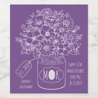 Monogram Wildflowers Bouquet Hand-Drawn Mason Jar Wine Label