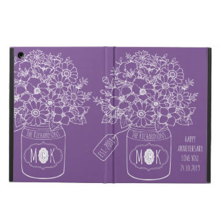 Monogram Wildflowers Bouquet Mason Jar Hand-Drawn Cover For iPad Air