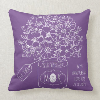 Monogram Wildflowers Bouquet Mason Jar Hand-Drawn Throw Pillow