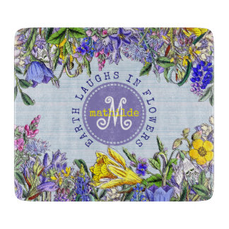 Monogram Wildflowers Vintage Purple Yellow Flowers Boards