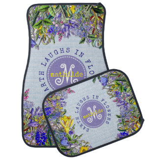 Monogram Wildflowers Vintage Purple Yellow Flowers Car Mat