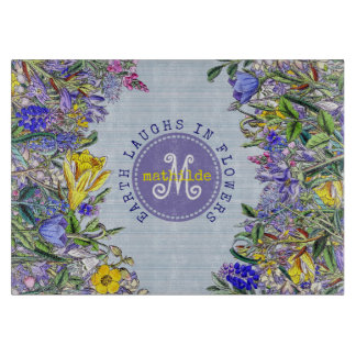 Monogram Wildflowers Vintage Purple Yellow Flowers Cutting Board