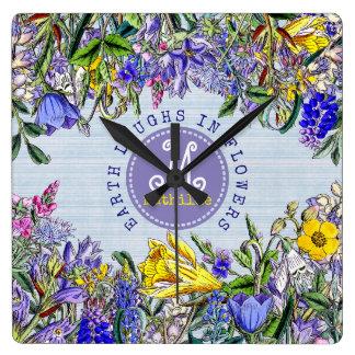 Monogram Wildflowers Vintage Purple Yellow Flowers Square Wall Clock