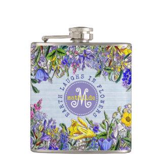 Monogram Wildflowers Vintage Victorian Flowers Hip Flask