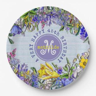 Monogram Wildflowers Vintage Victorian Flowers Paper Plate