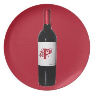Monogram Wine Bottle Plate